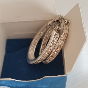 Avon silver birthstone hoop earrings